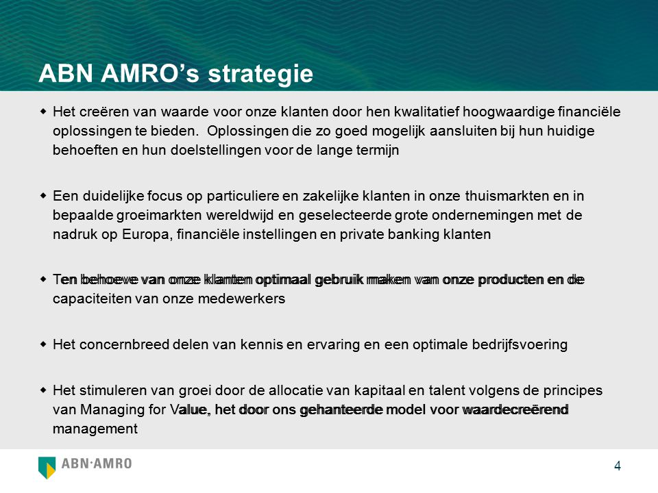 ABN AMRO's strategie