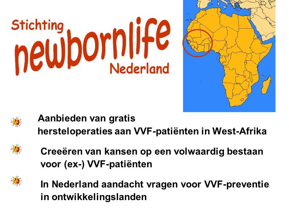 O Aanbieden van gratis. hersteloperaties aan VVF-patiënten in West-Afrika. Creeëren van kansen op een volwaardig bestaan.