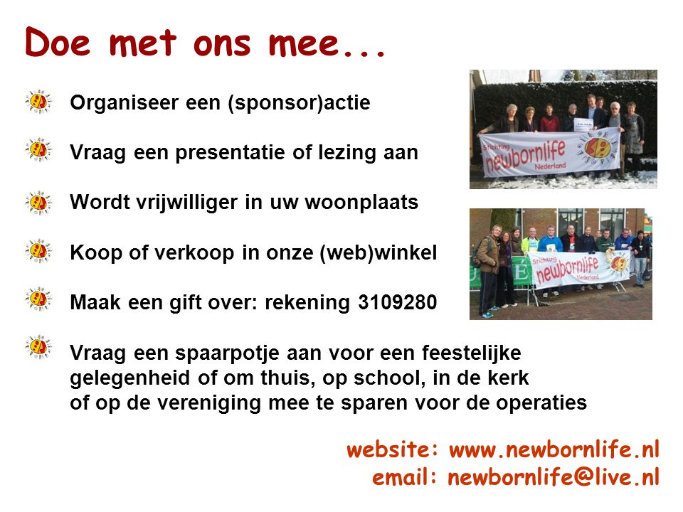 Doe met ons mee... website: