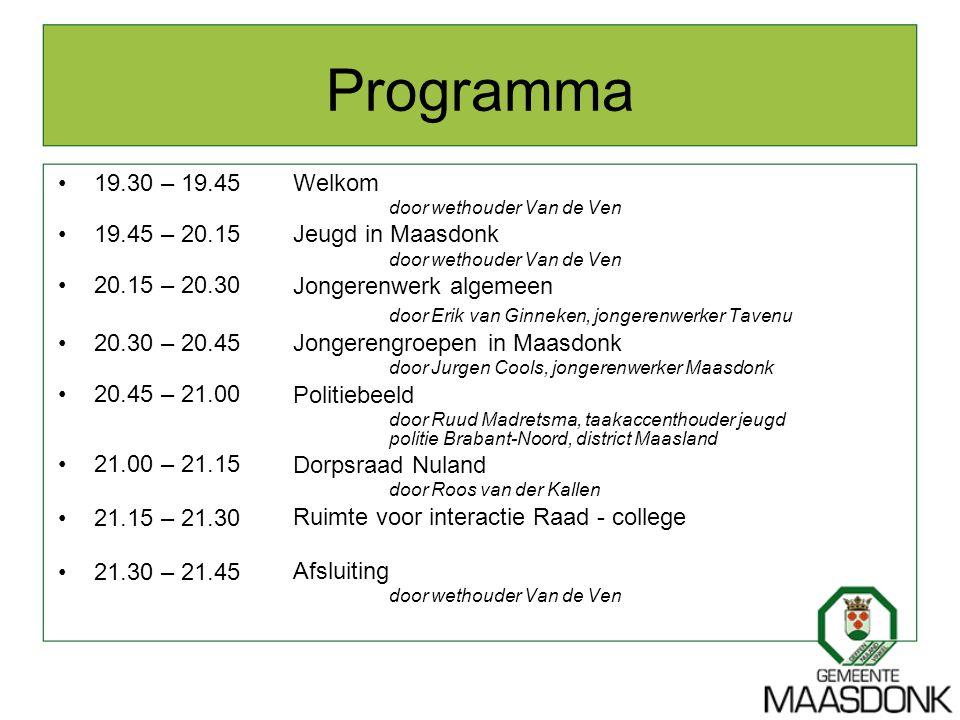 Programma 19.30 – 19.45. 19.45 – 20.15. 20.15 – 20.30. 20.30 – 20.45. 20.45 – 21.00. 21.00 – 21.15.