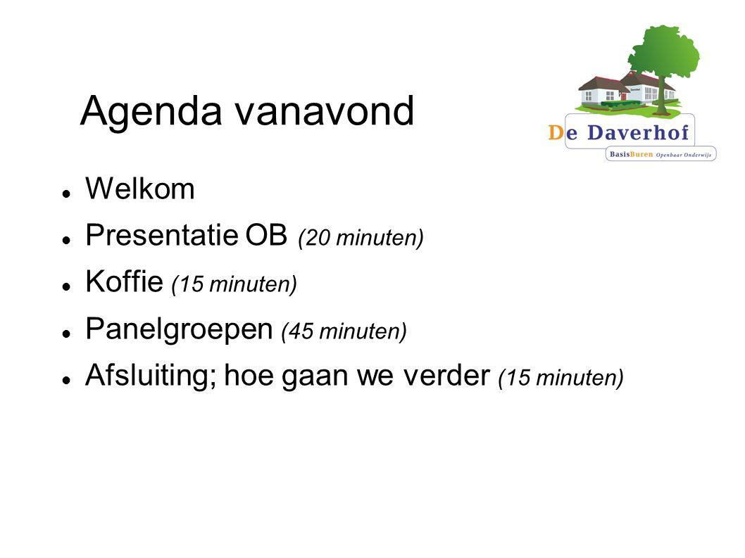 Agenda vanavond Welkom Presentatie OB (20 minuten) Koffie (15 minuten)