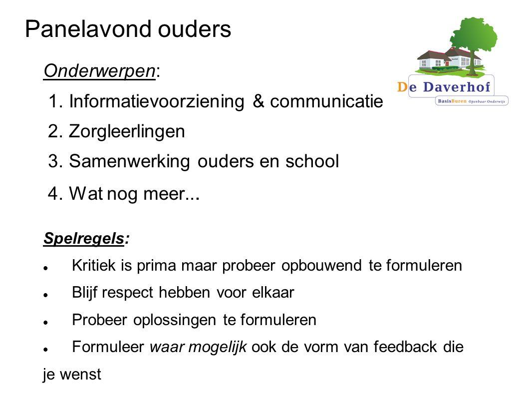 Panelavond ouders Onderwerpen: 1. Informatievoorziening & communicatie