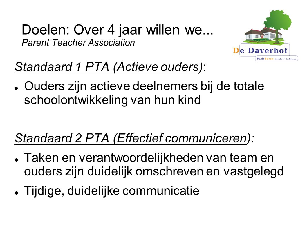 Doelen: Over 4 jaar willen we... Parent Teacher Association