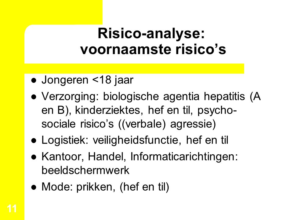 Risico-analyse: voornaamste risico's
