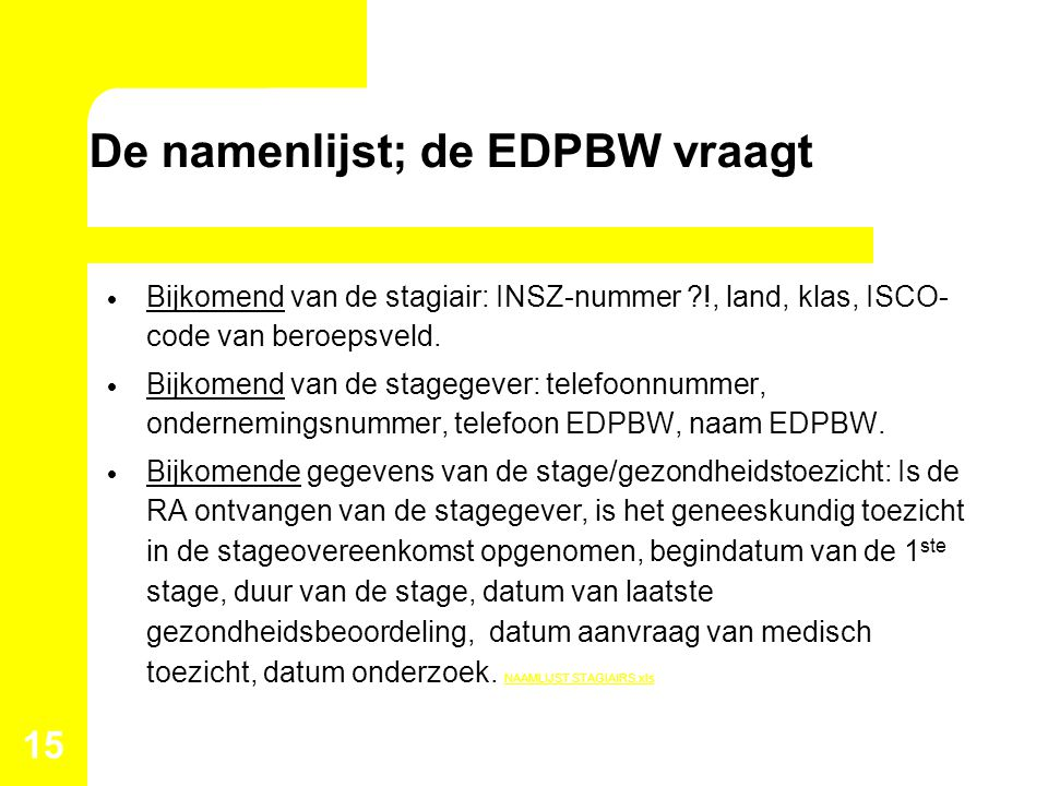 De namenlijst; de EDPBW vraagt