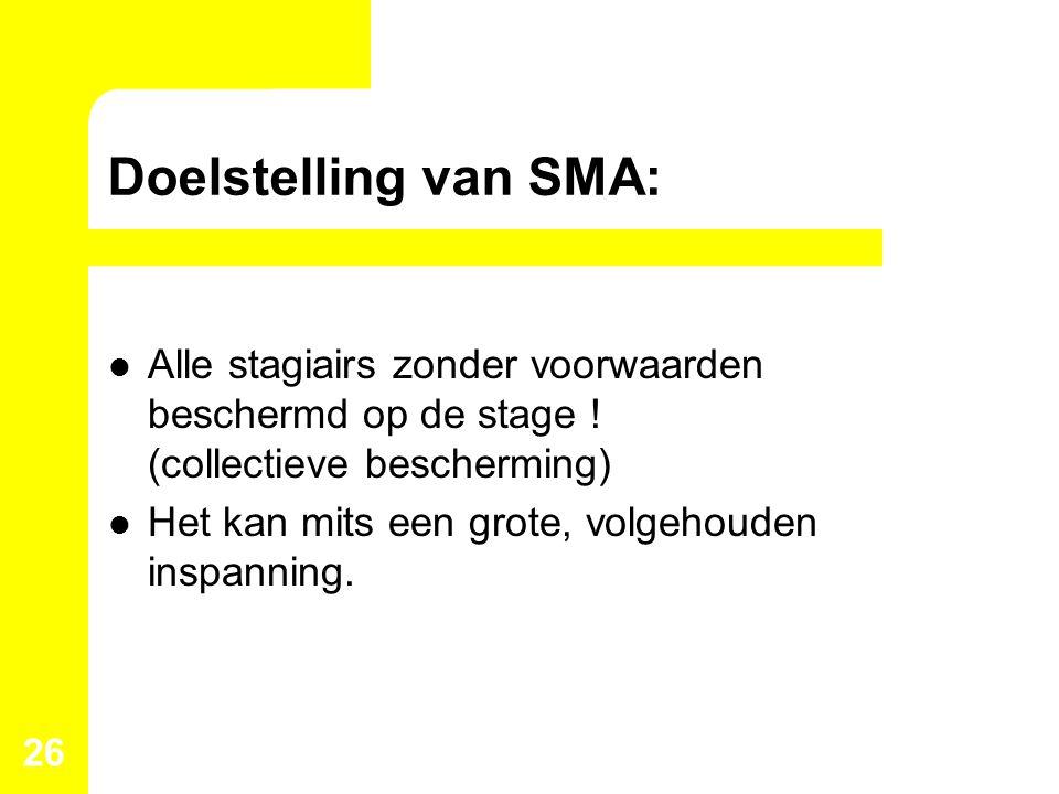 Doelstelling van SMA: Alle stagiairs zonder voorwaarden beschermd op de stage ! (collectieve bescherming)