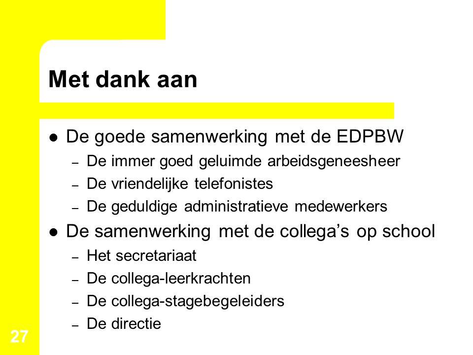 Met dank aan De goede samenwerking met de EDPBW