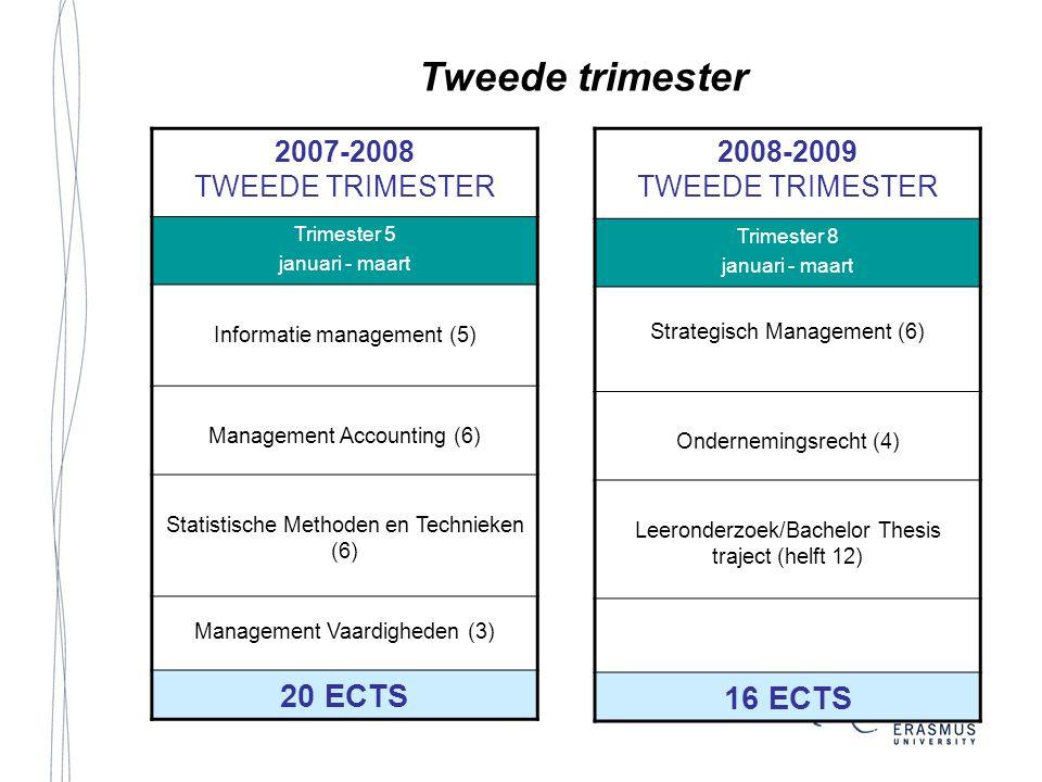 Tweede trimester 16 ECTS 20 ECTS 2007-2008 TWEEDE TRIMESTER 2008-2009