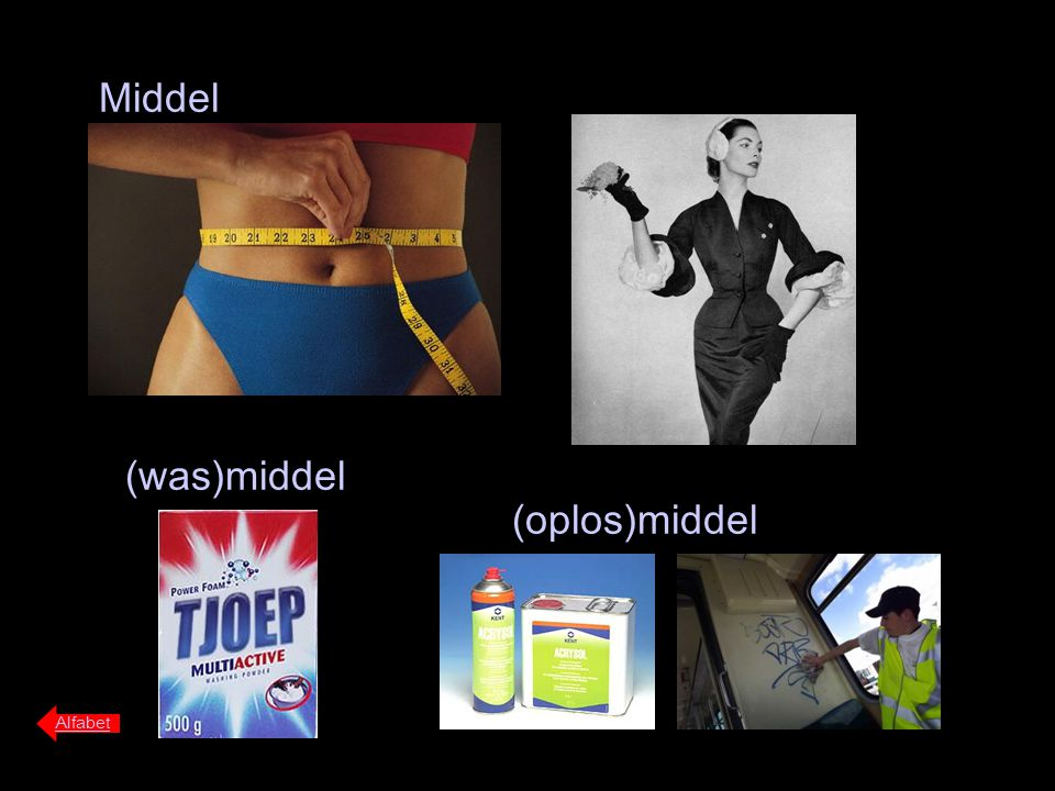 Middel (was)middel (oplos)middel Alfabet