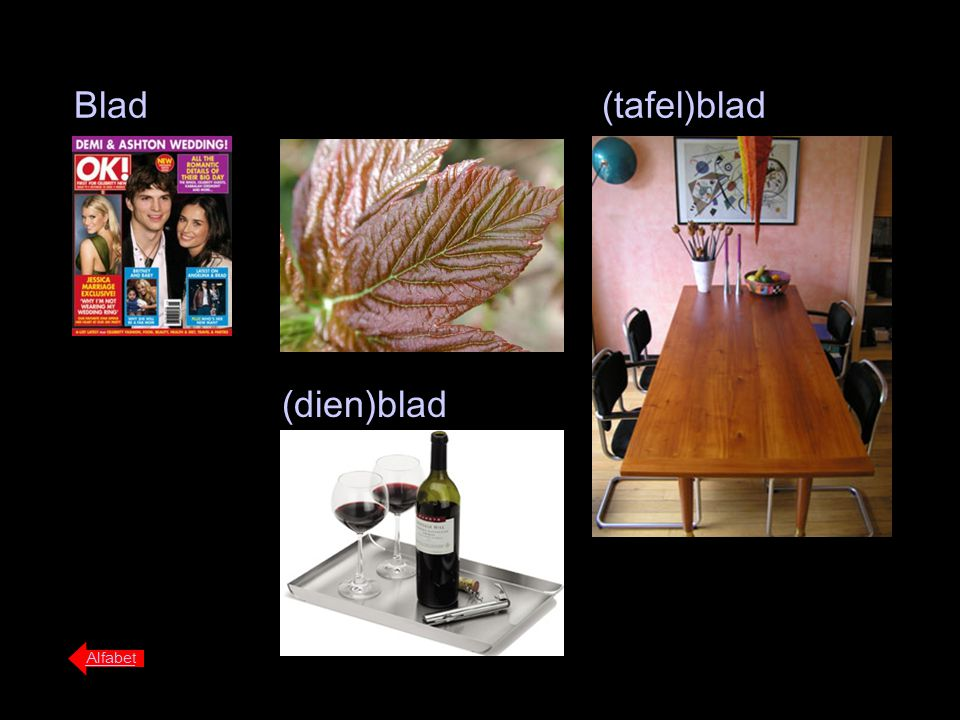 Blad (tafel)blad (dien)blad Alfabet