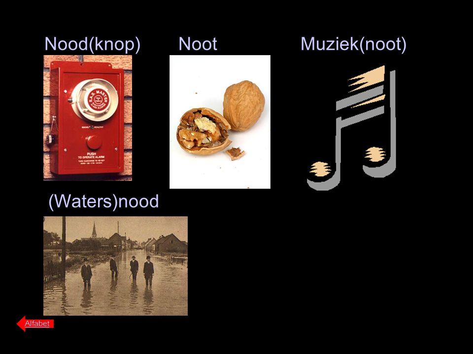 Nood(knop) Noot Muziek(noot) (Waters)nood Alfabet