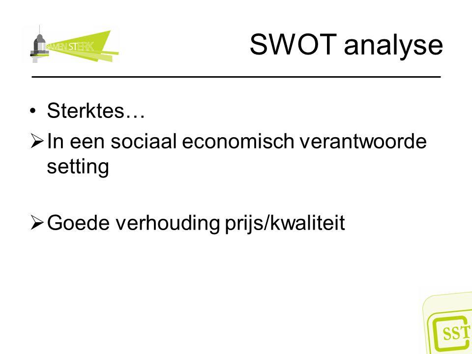 SWOT analyse Sterktes… In een sociaal economisch verantwoorde setting