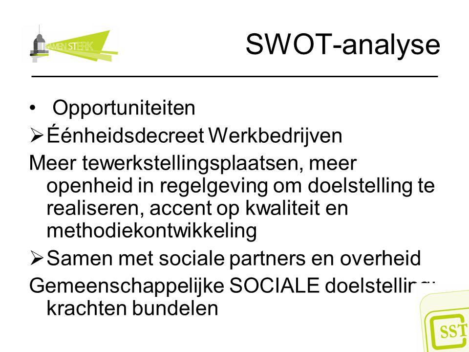 SWOT-analyse Opportuniteiten Éénheidsdecreet Werkbedrijven