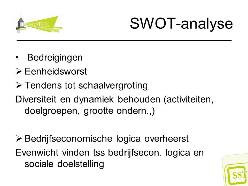SWOT-analyse Bedreigingen Eenheidsworst Tendens tot schaalvergroting