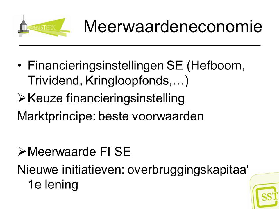 Meerwaardeneconomie Financieringsinstellingen SE (Hefboom, Trividend, Kringloopfonds,…) Keuze financieringsinstelling.