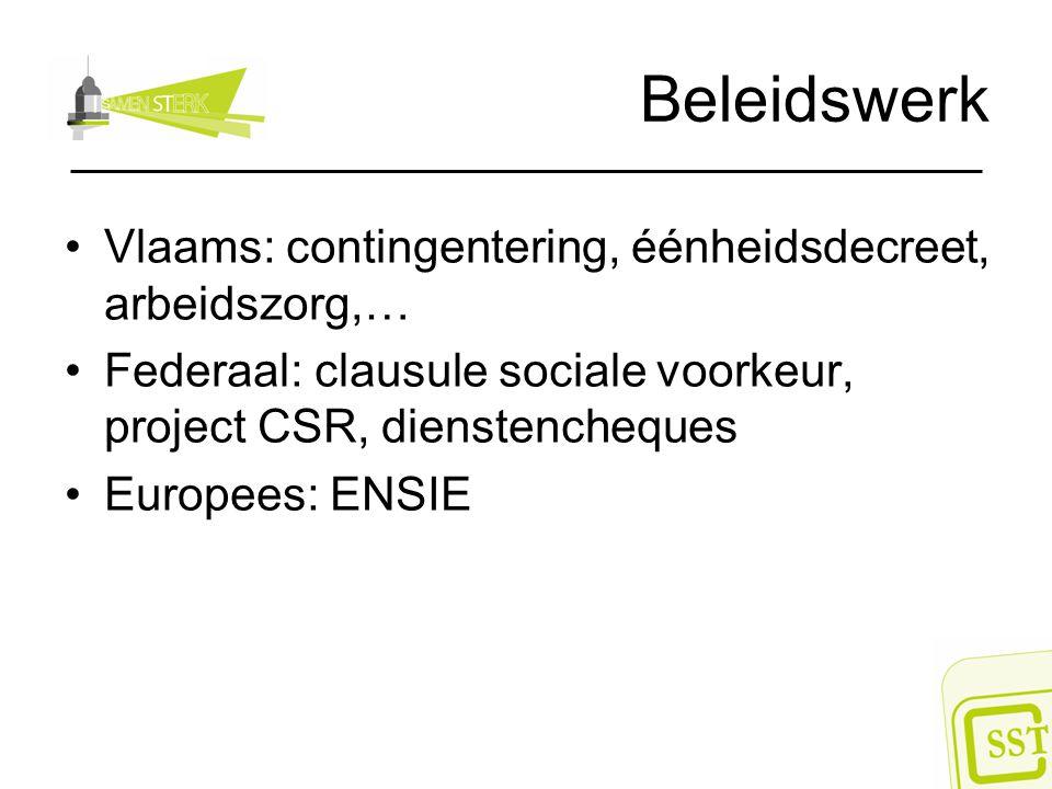Beleidswerk Vlaams: contingentering, éénheidsdecreet, arbeidszorg,…