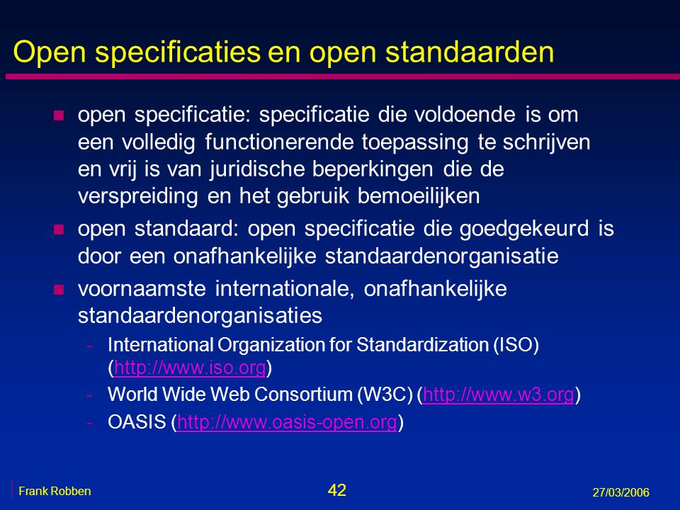 Open specificaties en open standaarden