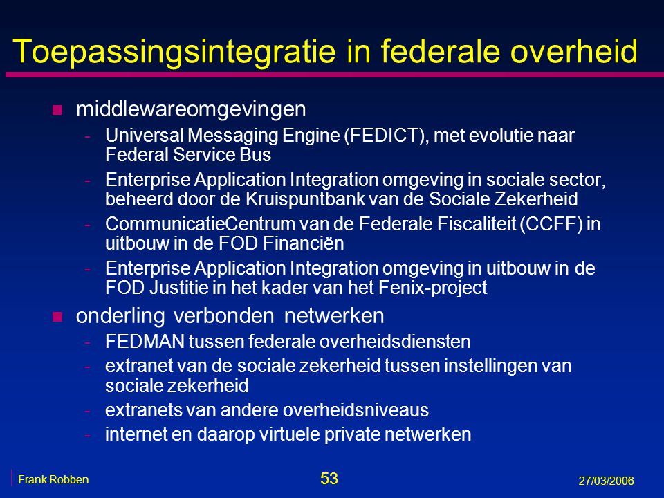 Toepassingsintegratie in federale overheid