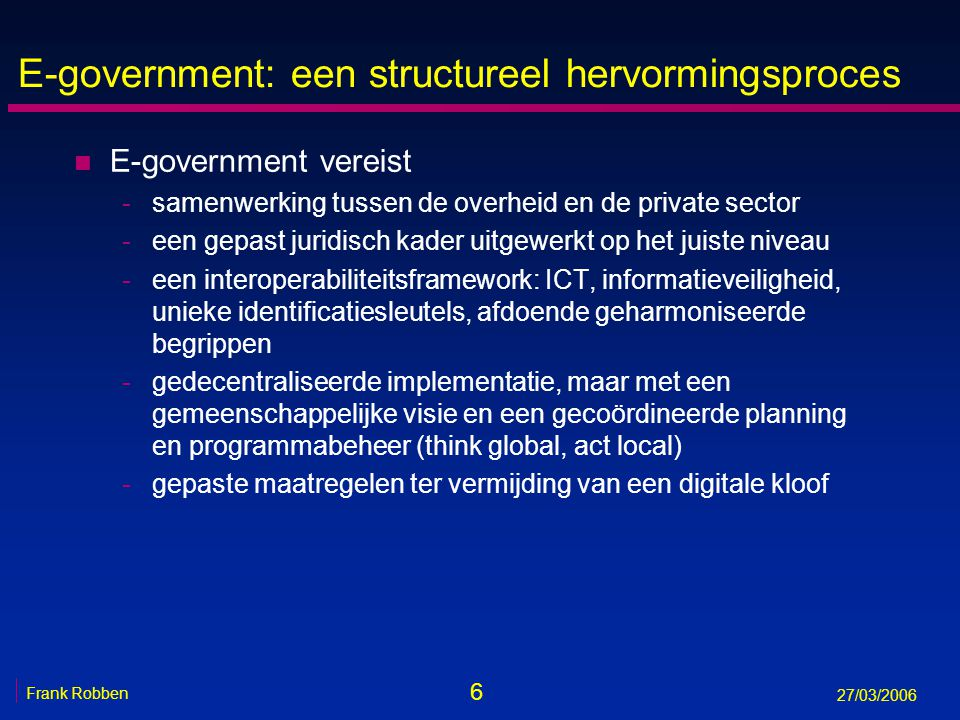 E-government: een structureel hervormingsproces