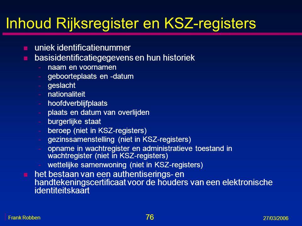 Inhoud Rijksregister en KSZ-registers