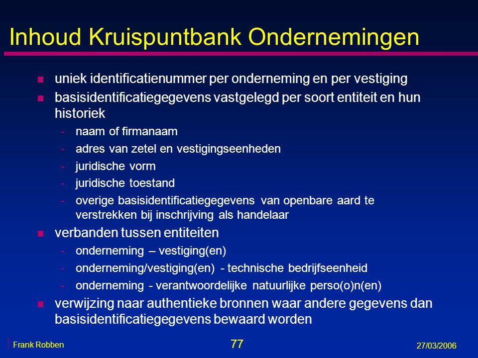 Inhoud Kruispuntbank Ondernemingen