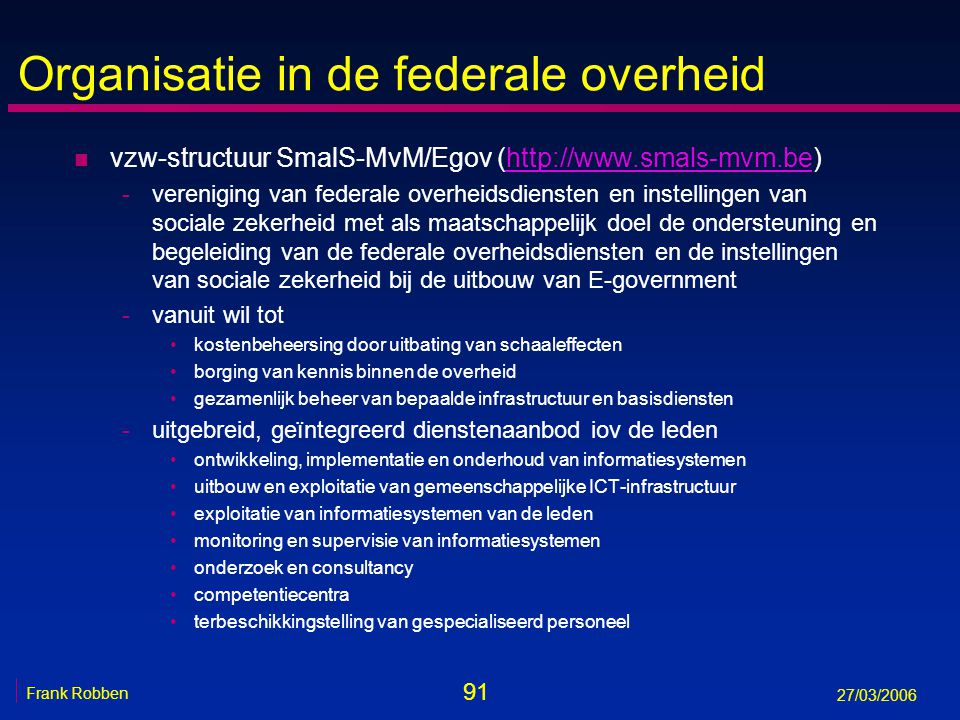 Organisatie in de federale overheid