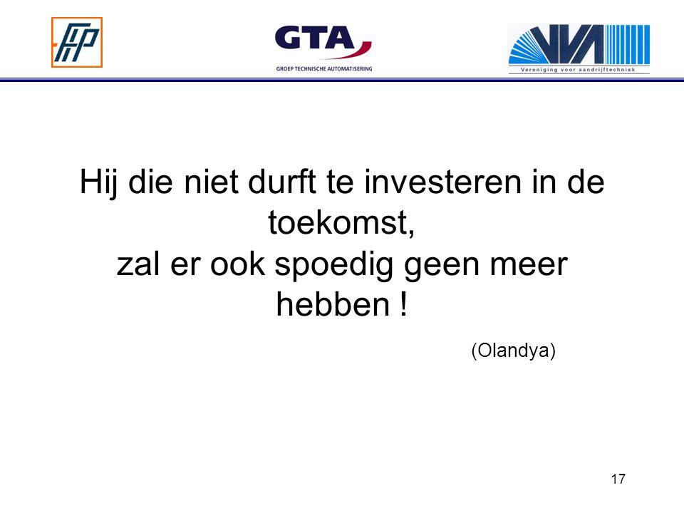 Hij die niet durft te investeren in de toekomst, zal er ook spoedig geen meer hebben ! (Olandya)