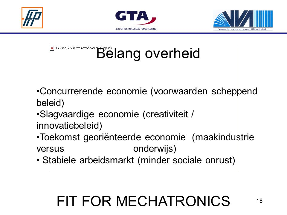 Belang overheid FIT FOR MECHATRONICS