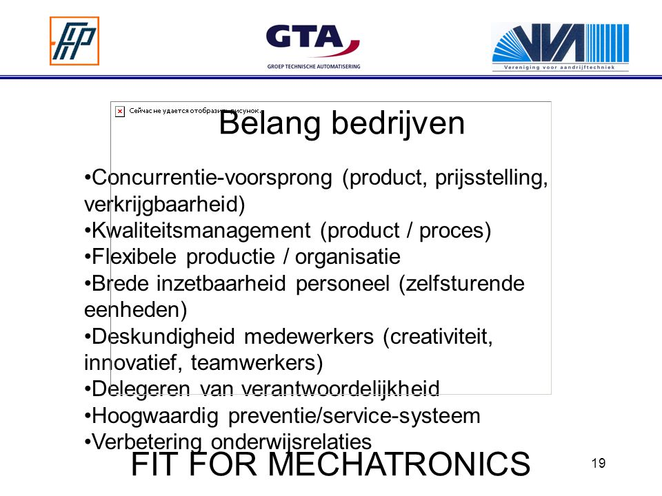 Belang bedrijven FIT FOR MECHATRONICS