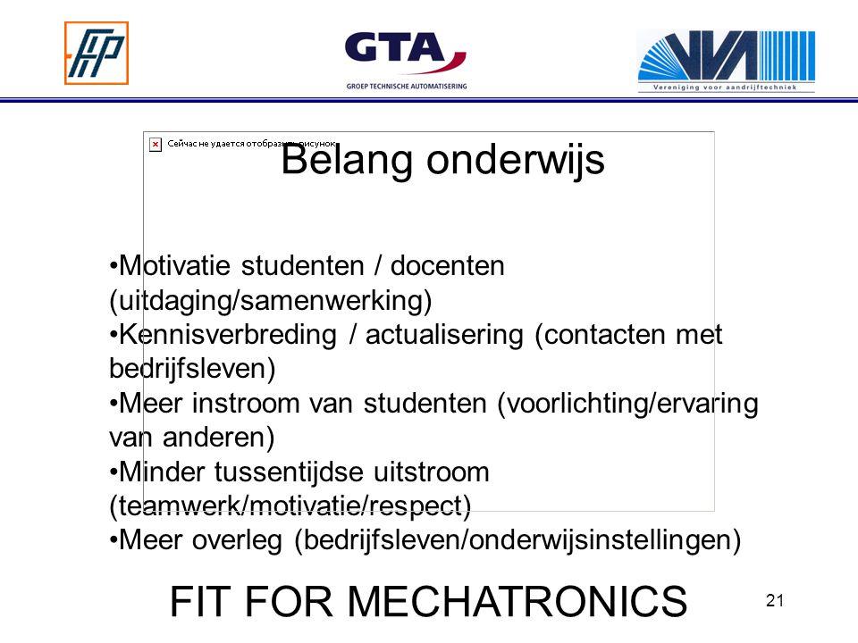Belang onderwijs FIT FOR MECHATRONICS
