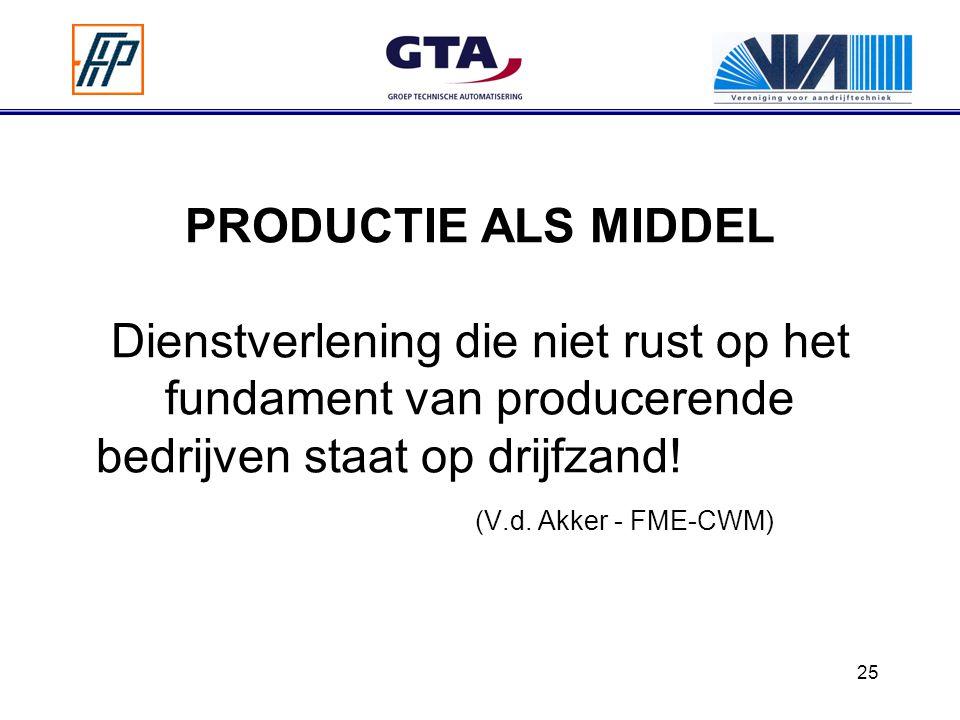 PRODUCTIE ALS MIDDEL Dienstverlening die niet rust op het fundament van producerende bedrijven staat op drijfzand! (V.d.