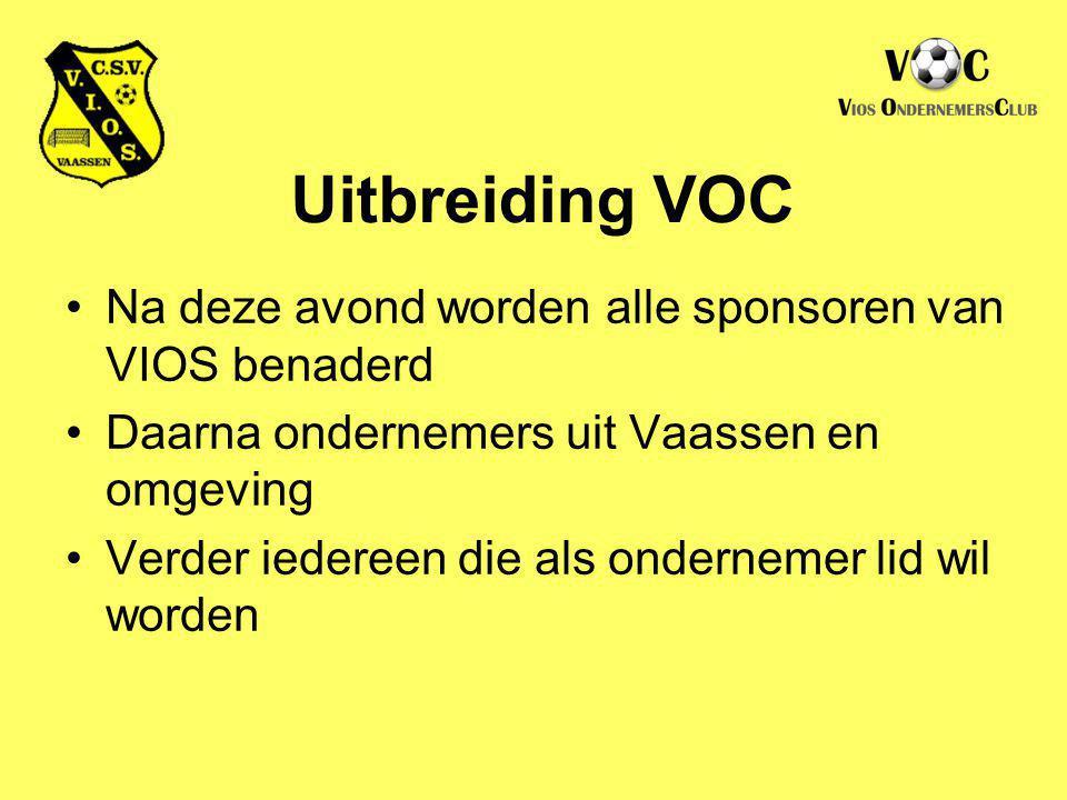 Uitbreiding VOC Na deze avond worden alle sponsoren van VIOS benaderd
