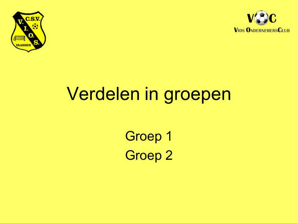 Verdelen in groepen Groep 1 Groep 2
