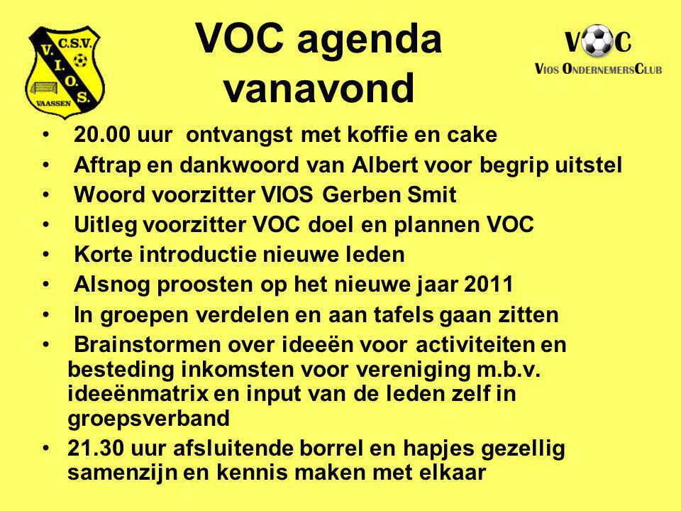 VOC agenda vanavond 20.00 uur ontvangst met koffie en cake