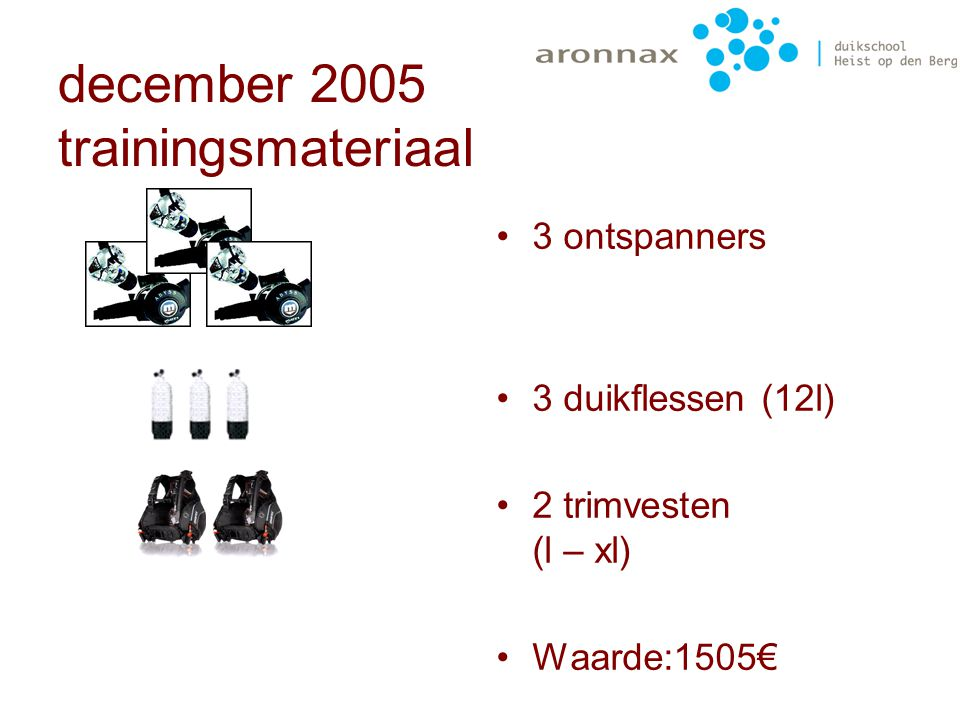 december 2005 trainingsmateriaal