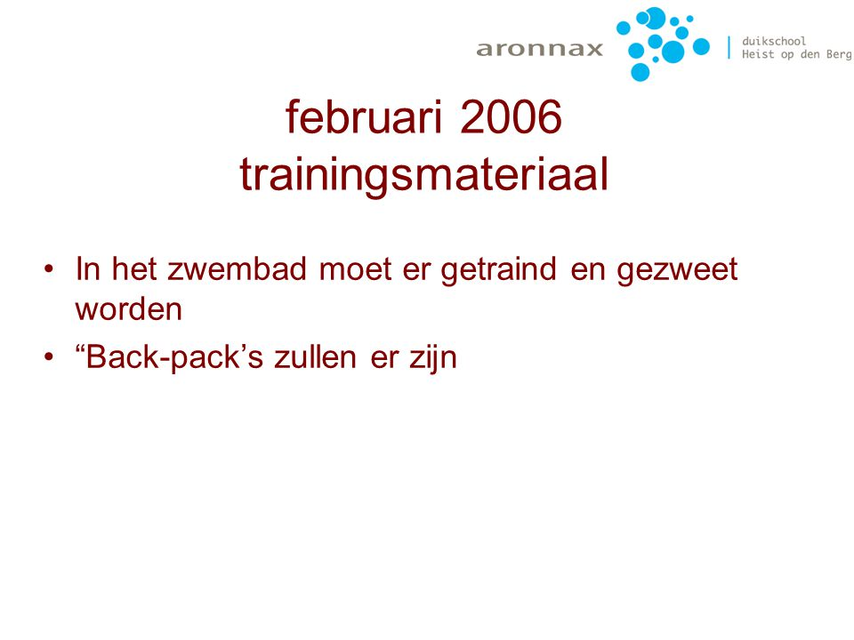 februari 2006 trainingsmateriaal