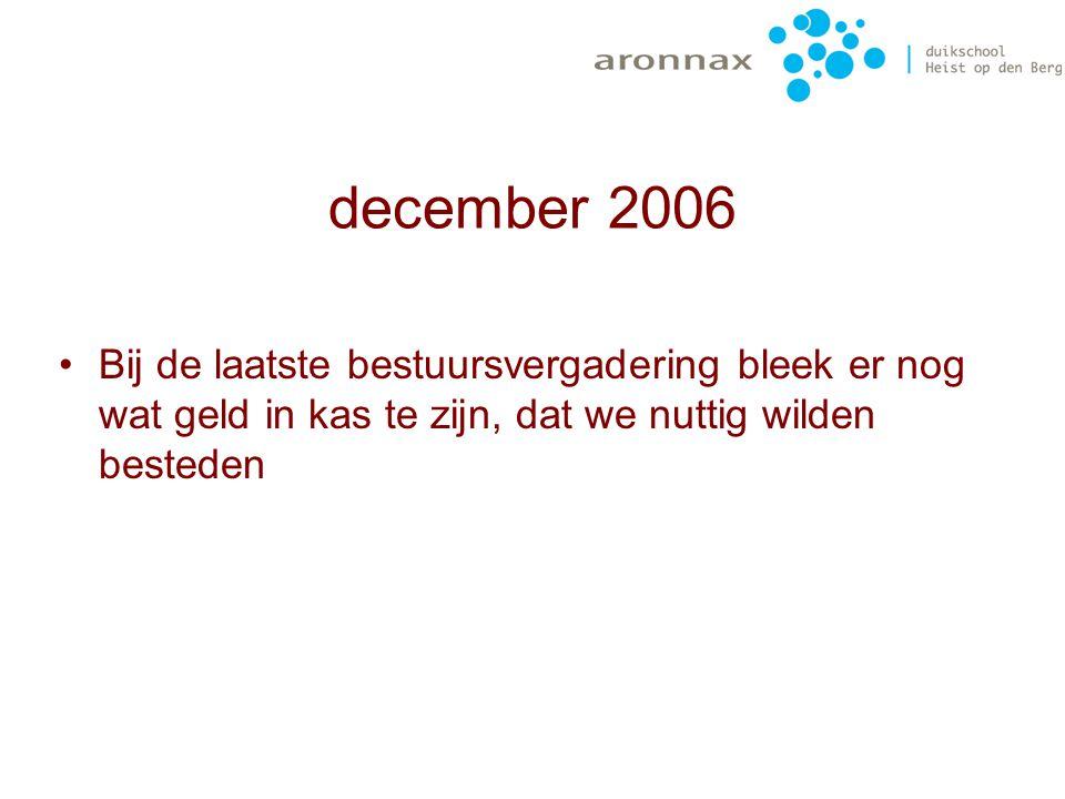 december 2006 Bij de laatste bestuursvergadering bleek er nog wat geld in kas te zijn, dat we nuttig wilden besteden.