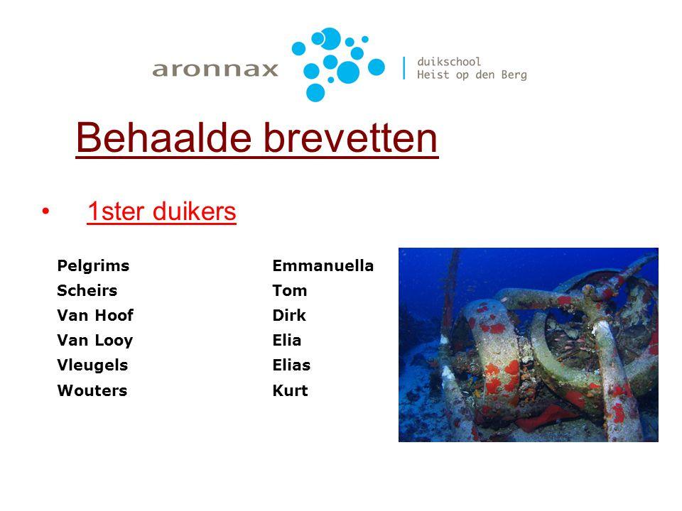 Behaalde brevetten 1ster duikers Pelgrims Emmanuella Scheirs Tom