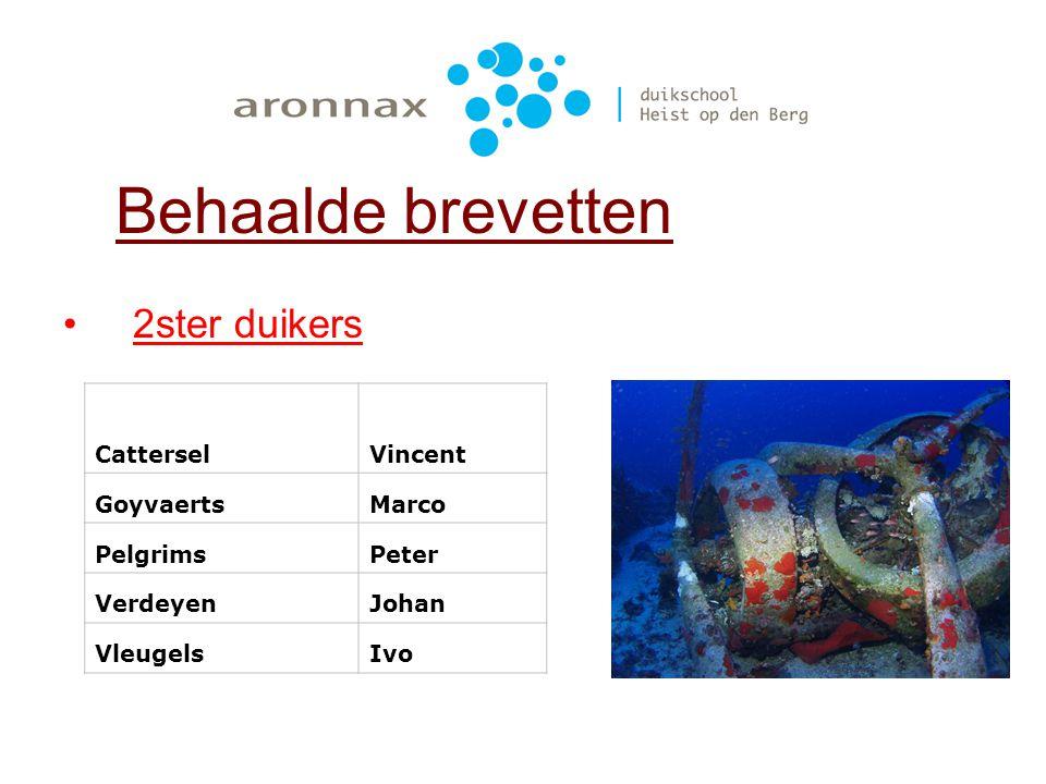 Behaalde brevetten 2ster duikers Cattersel Vincent Goyvaerts Marco
