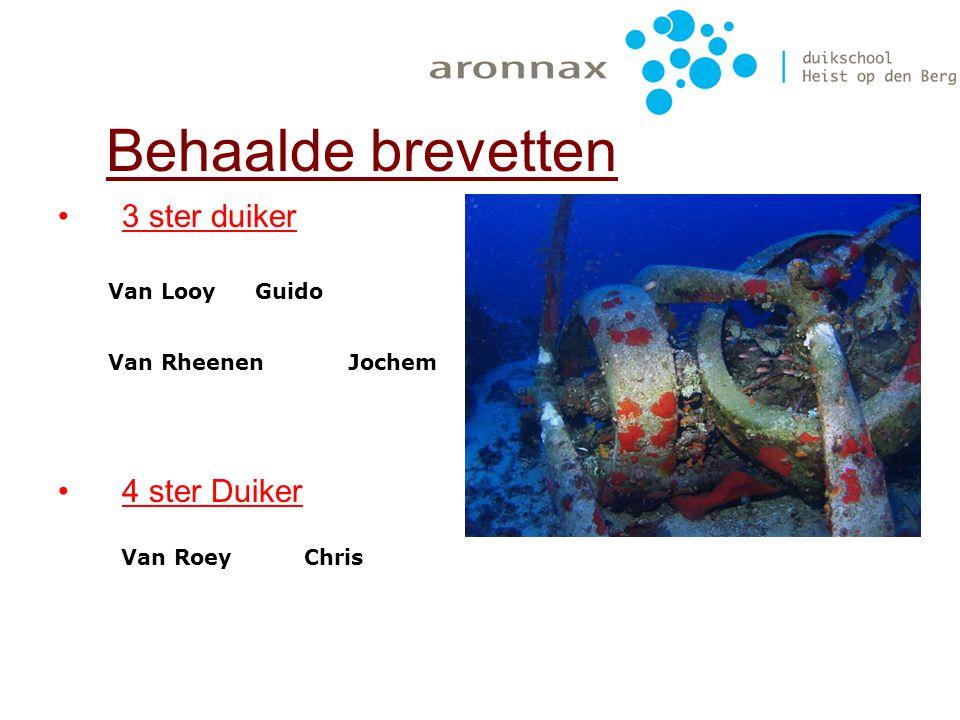 Behaalde brevetten 3 ster duiker 4 ster Duiker Van Looy Guido