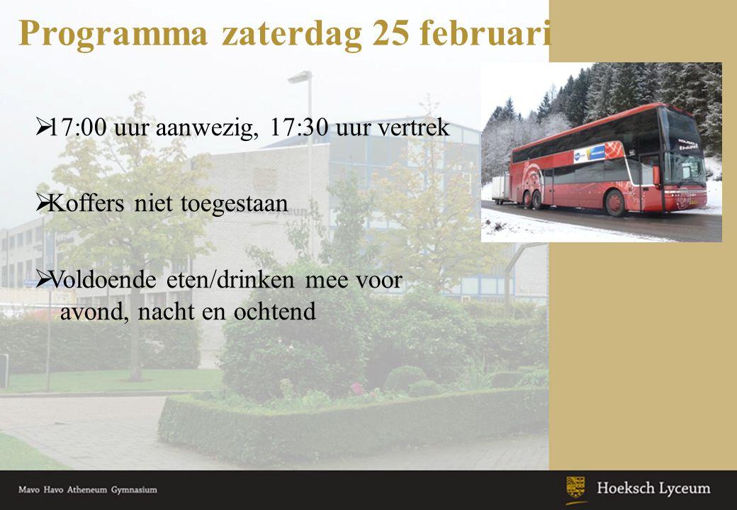 Programma zaterdag 25 februari