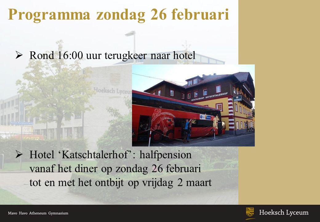 Programma zondag 26 februari