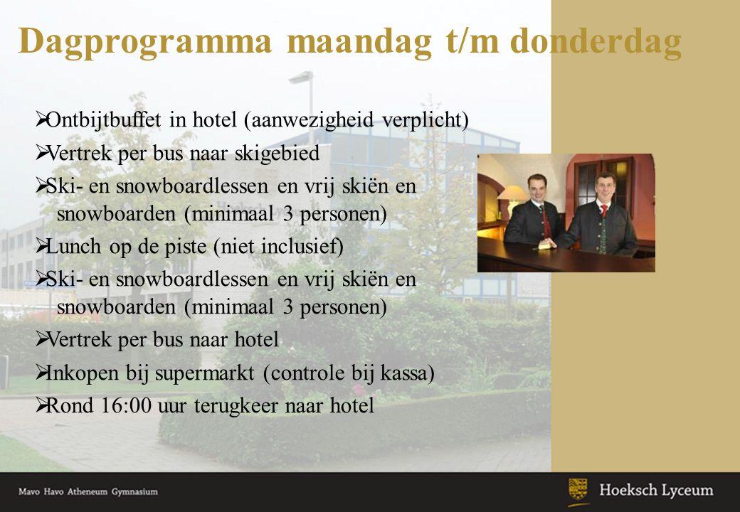 Dagprogramma maandag t/m donderdag