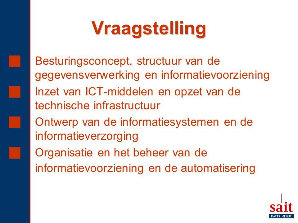 Vraagstelling Besturingsconcept, structuur van de gegevensverwerking en informatievoorziening.