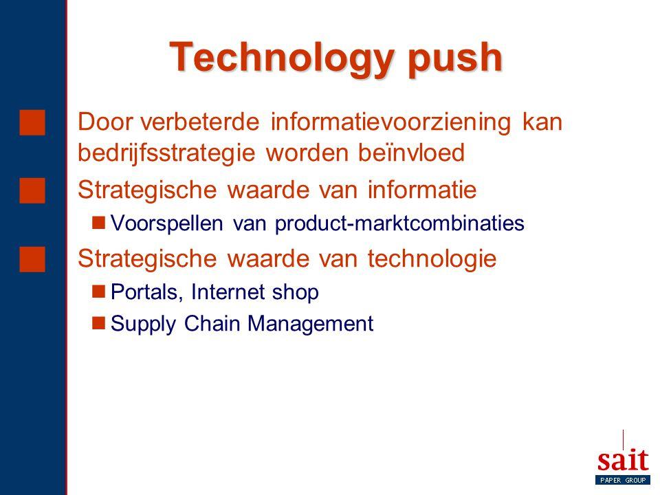 Technology push Door verbeterde informatievoorziening kan bedrijfsstrategie worden beïnvloed. Strategische waarde van informatie.