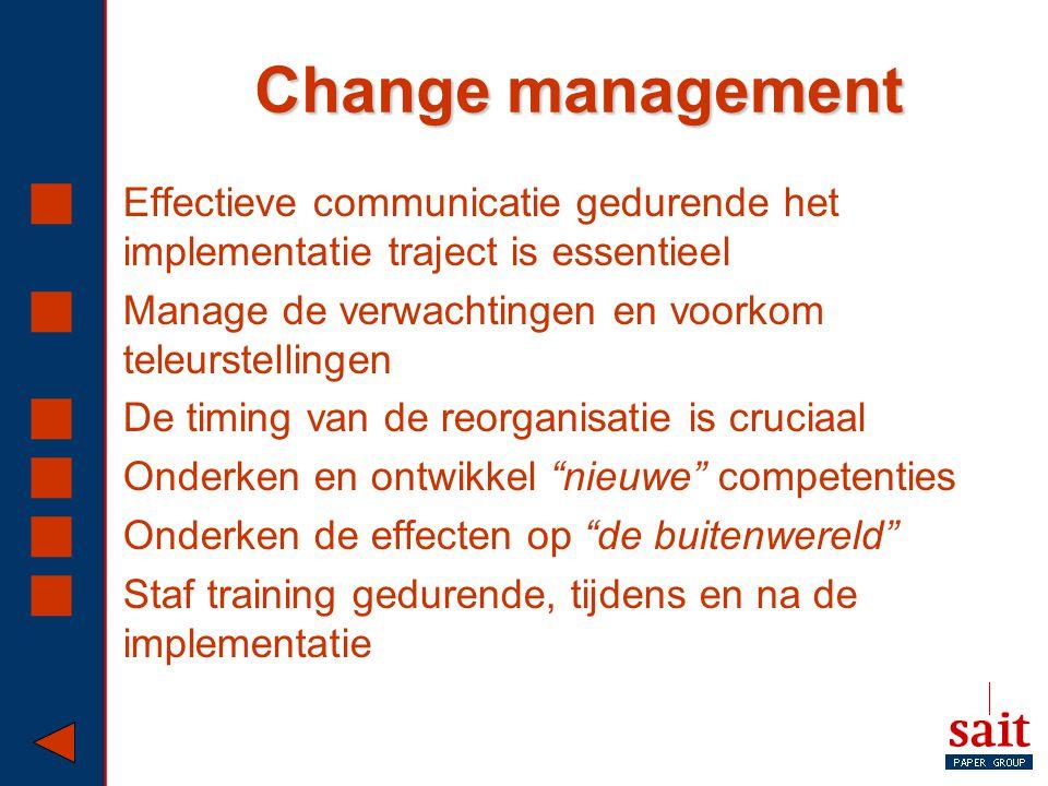 Change management Effectieve communicatie gedurende het implementatie traject is essentieel. Manage de verwachtingen en voorkom teleurstellingen.
