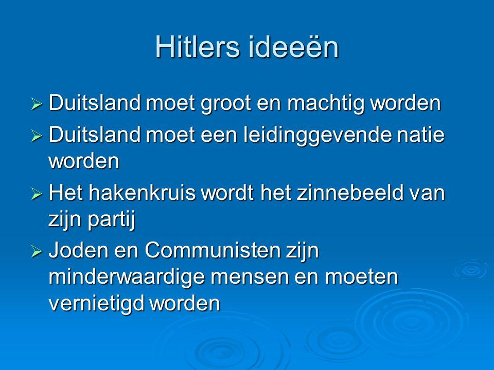 Hitlers ideeën Duitsland moet groot en machtig worden