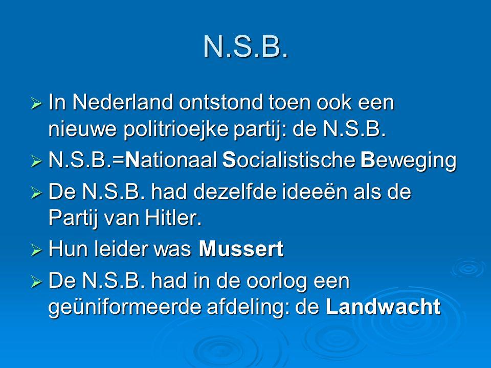 N.S.B. In Nederland ontstond toen ook een nieuwe politrioejke partij: de N.S.B. N.S.B.=Nationaal Socialistische Beweging.