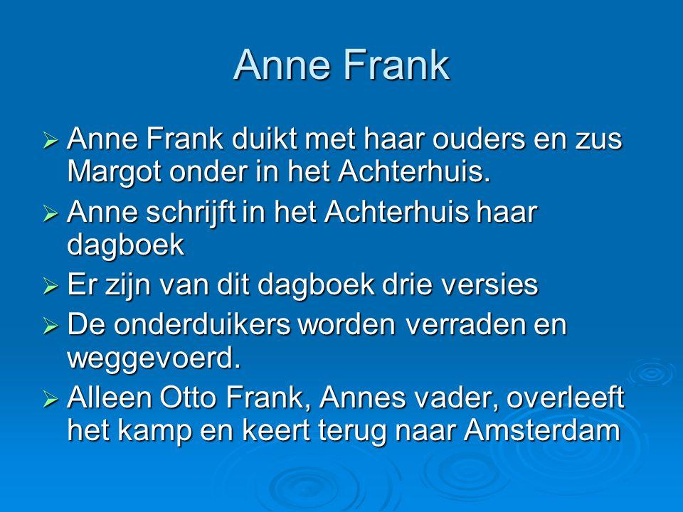 Anne Frank Anne Frank duikt met haar ouders en zus Margot onder in het Achterhuis. Anne schrijft in het Achterhuis haar dagboek.