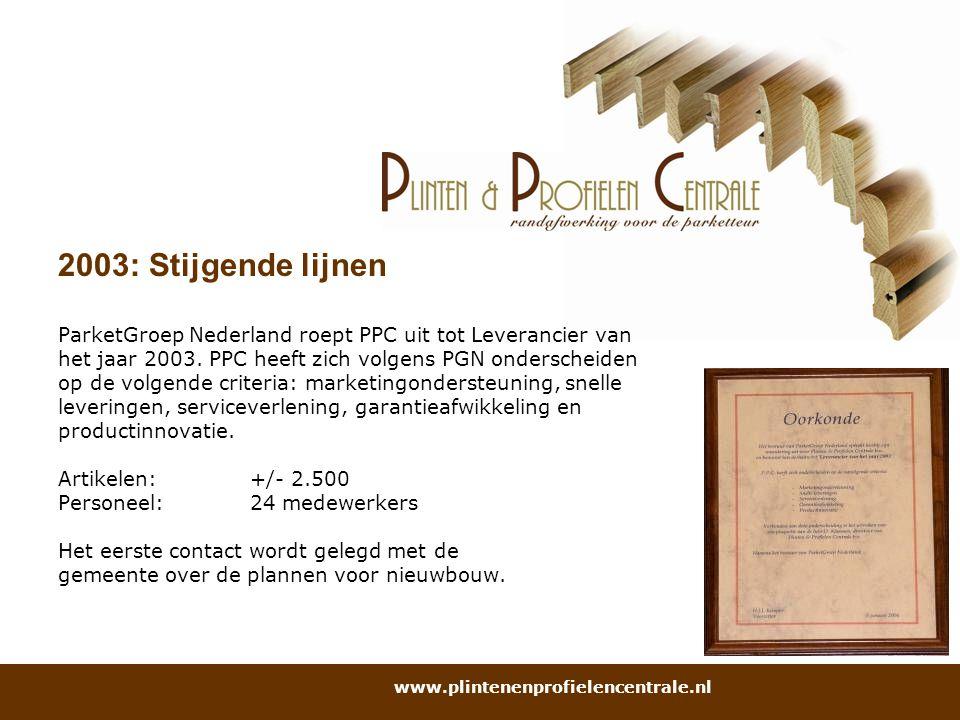 2003: Stijgende lijnen ParketGroep Nederland roept PPC uit tot Leverancier van. het jaar 2003. PPC heeft zich volgens PGN onderscheiden.